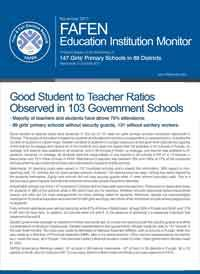 Good Student to Teacher Ratio Observed in 103 Government Schools