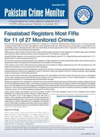 Faisalabad Registers Most FIRs for 11 of 27 Monitored Crimes