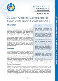 FAFEN Pre-Election Update 37: 70 Govt Officials Campaign for Candidates in 25 Constituencies