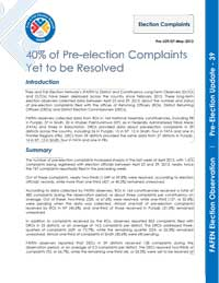 FAFEN Pre-Election Update 39: 40% of Pre-election Complaints Yet to be Resolved