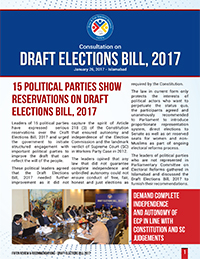 15 Political Parties Show Reservations on Draft Elections Bill 2017