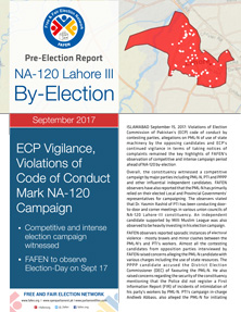 ECP Vigilance, Violations of Code of Conduct Mark NA-120 Campaign