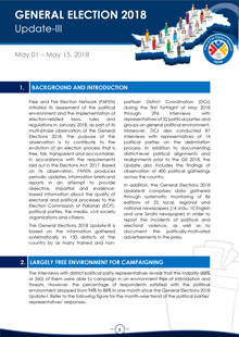 General Election 2018 Update on Citizens' Observation of Electoral and Political Environment