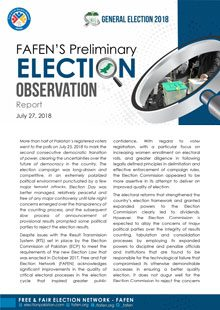 General Election 2018: FAFEN's Preliminary Election Observation Report